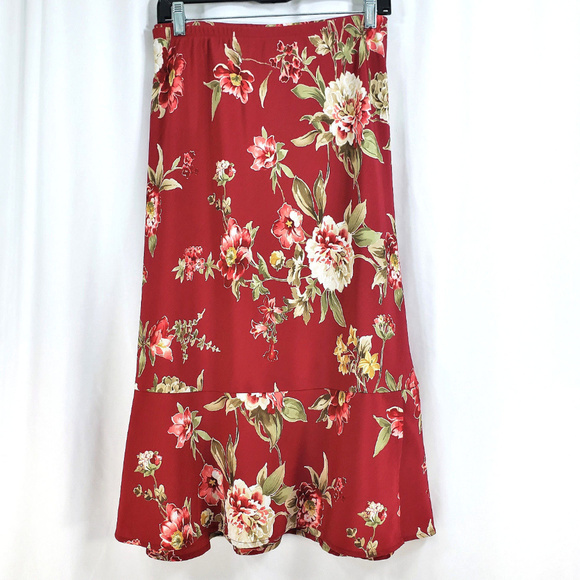 85eccdc876 Alfred Dunner Dresses & Skirts - Alfred Dunner Dark Red Floral Skirt Size 18